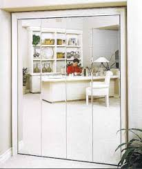 mirrored bifold closet doors with interior potted plant for enchanting interior storage design