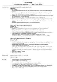 Customer Service Sales Associate Resume Samples | Velvet Jobs