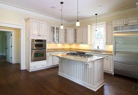 kitchen color schemes with oak cabinets gray pallet wall paint wooden base floor set ceiling lamps