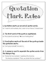 Quotation Marks Anchor Chart Quotation Mark Rules Anchor Chart