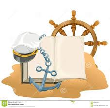 royalty free vector sea adventure open book anchor captain cap and wheel lying on sand