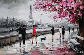 2018 parisian street eiffel tower scene handpainted modern wall decor abstract art oil painting on canvas multi sizes available asm from ym804