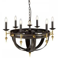 regal 6 light ceiling chandelier in oil rubbed bronze and gold painted finish