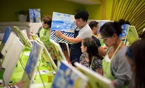 the instructor tony tan leading a class during a paint nite event this month at sofrito in white plains credit gregg vigliotti for the new york times