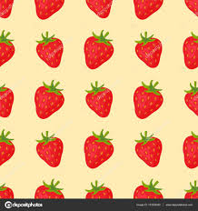 cartoon fresh strawberry fruits in flat style seamless pattern food summer design wallpaper vector ilration vegetarian green tropical ornament vitamin