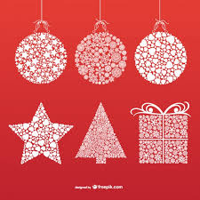 Christmas ornaments with snowflakes and stars Free Vector