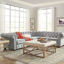Knightsbridge Tufted Scroll Arm Chesterfield 6-seat L-shaped Sectional by  iNSPIRE Q Artisan - Free Shipping Today - Overstock.com - 17632346