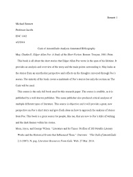 annotated bibliography short stories edgar allan poe