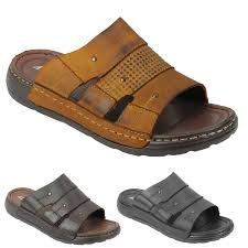 details about new mens black brown soft leather sandals walking open toe beach mules slippers