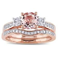 diamond wedding rings for women cheap. miadora signature collection 10k rose gold morganite, created white sapphire and 1/6ct tdw diamond wedding rings for women cheap e