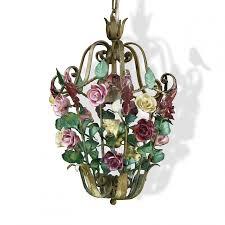 Hängelampe Rosen Rosa Gelb Florentiner Stil Vintage