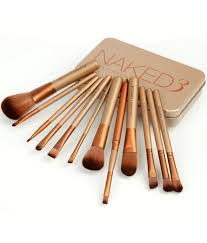 cosmetic brush set. urban decay naked3 cosmetic makeup brush set with storage box - 12 piece g
