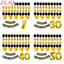 <b>ZLJQ</b> 48pcs Number 30 40 50 Years Old 40inch Gold Foil Balloons ...