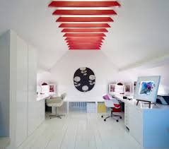 home office design quirky. Country Office Home Contemporary With Red Exposed Beams Swivel Armchair Painted Floor Boards Design Quirky