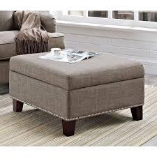 dorel home linen square ottoman with nailhead trim gray  walmartcom