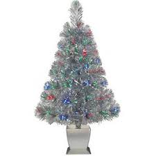 Fiber Optic Christmas Tree Artificial Silver Prelit Xmas Lights ...