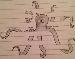 Small Picture drawing sketch doodle octopus between the lines on lined paper