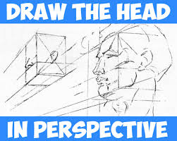 how to draw the head in perspective drawing human head in perspective tutorial