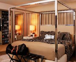 chrome canopy bed with natural bedroom contemporary and removable cover