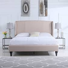 Classic Deluxe Linen Platform Bed Frame With Upholstered Shelter Linen Platform Bed