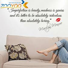 Imperfection Is Beauty Quote Best of Imperfection Is Beautymadness Is Genius Quote Wall Decal ZooYoo24