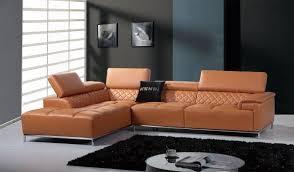divani casa citadel orange leather sectional sofa jpg