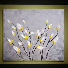 hand painted modern little white yellow flower wall art picture home decor abstract thick palette knife