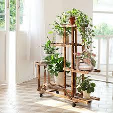 details about rolling wooden plant rack shelf flower pot holder corner display stand lockable