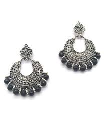 oxidized chandbali earrings with multi beads german gold plated antique finish chandelier earrings for gilr and women big