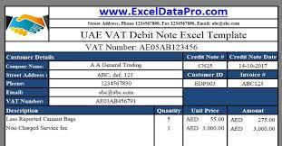 Vat Calculation Formula In Excel Download Download Uae Vat Debit Note Excel Template Templates Uae