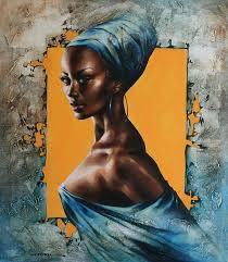 paintings victoria stoyanova b 1968 figurative art beautiful african american black woman décolletage