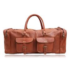 products pioneer leather duffel bag two pocket side chain front jpeg