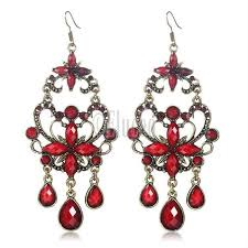 statement chandelier earrings red big