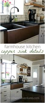 Farmhouse Style Sink Kitchen Our Copper Sink Double Farmhouse Sink Copper And Open Shelving