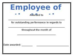 Employee Of The Month Award Employee Of The Month Award Template