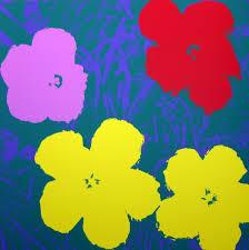Yellow Blue Green Andy Warhol Flowers Serigraph Yellow Green Sunday B Morning
