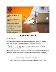 Secretary Job Description] Secretary Dubai Secretary Dubai Job ...