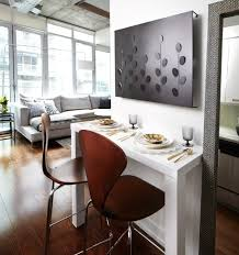 Against The Wall Dining Table Contemporary Condo Dining Nook With White Lacquer Bar Table And