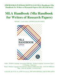 Download Mla Handbook Mla Handbook For Writers Of Research Papers
