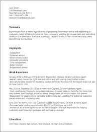 Work Resume Interesting Work From Home Resume Kenicandlecomfortzone