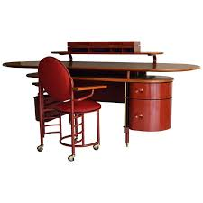 rare johnson wax 1 desk and 2 chair by frank lloyd wright for cassina for