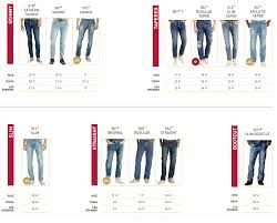 Mens Jeans Chart 47 Prototypic Levis Mens Jeans Style Chart