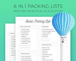 Packing For Vacation Lists Packing List Printable Travel Packing Vacation Planner Holiday Planner Packing Checklist For Babies Kids Family A4 A5 Us Letter
