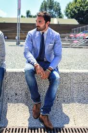 jeans suit jacket style brown leather shoes