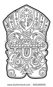 Small Picture Hawaiian Tiki Totem Mask Coloring Page Stock Vector 666388021