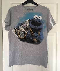Primark Men Gangsta Cookie Monster Tshirt M Medium Sesame