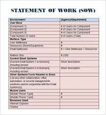 Work Statement Examples Statement Of Work Template Business