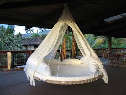 ... Large Size Unusual Patio Furniture Outdoor Hanging Bed Trampoline Round  Shape White Canopy Curtain Mattress Cover ...