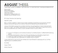 Crafting A Cover Letter History Teacher Cover Letter Sample Cover Letter Templates Examples