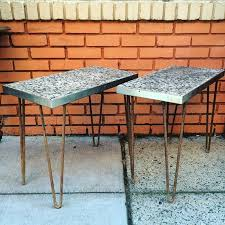 side tables with hairpin legs poured concrete tops with metal frame spray paint the legs and